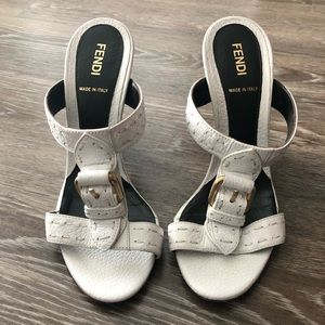 02c133f467ff0 Fendi White Leather Buckle Wedge